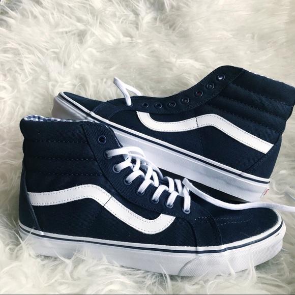 201927fef8 Sale ❗️VANS sk8 hi reissue navy blue twill gingham